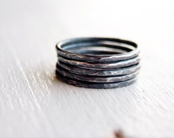 GET 1 FREE WITH Five Stacking silver rings, hammered stacking rings in oxidized silver, thin silver rings in black silver