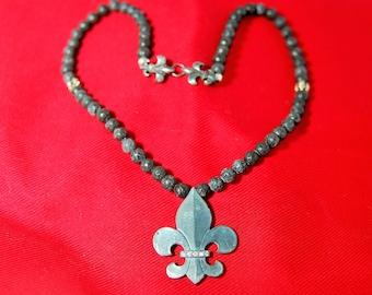 Sterling Silver New Orleans Fleur de Lis and diamond pendant on genuine black Lava beads with Fleur de Lis catch