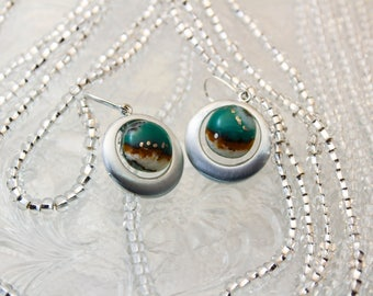Organic Turquoise Fused Glass Earrings