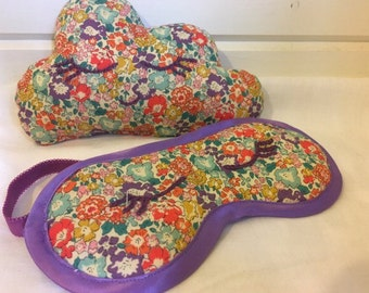 Liberty print lavender cloud cushion and eyemask set
