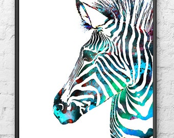 Painting Blue Watercolor Art Print Zebra, Animal Art, Watercolor Animal Illustration, Wall Art - 437А