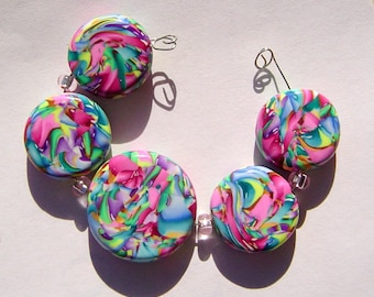 Whisps of Spring Artisan Polymer Clay Bead Set with Focal and 4 Beads