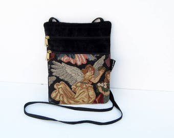 Angel Tapestry Cross Body Flat Purse