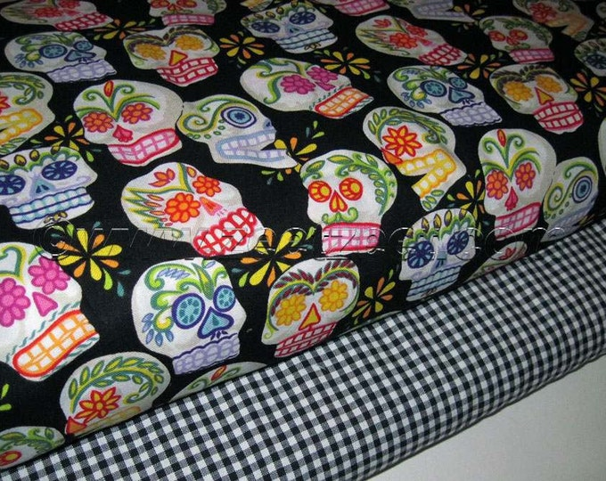 2 Yds Total - Alexander Henry MINI CALAVERAS Duo Black 1 Yard and GINGHAM Check Black White 1 Yard Skull Quilt Fabric
