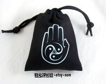 Monk Fantasy RPG Mini Drawstring Dice Pouch, White Symbol on Black