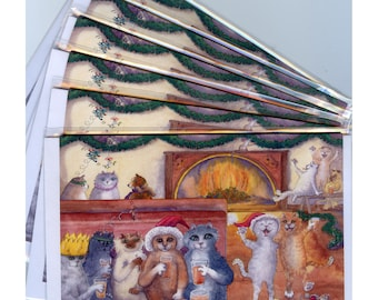 6 x carousing cats greeting holiday cards from watercolor painting