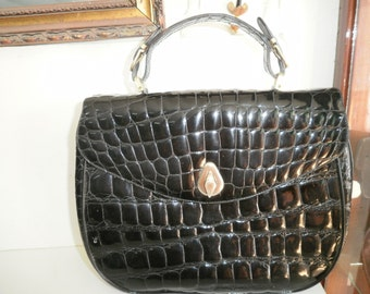 Vintage black patented leather handbag by Silvano Biagini made in Italy