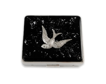 7 Day Pill Box Swooping Swallow Inlaid in Hand Painted Enamel Black with Silver Splash Design with 8 Compartments with Personalized Options