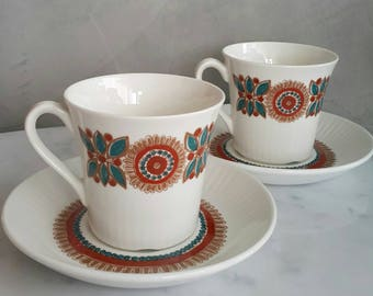 """Figgjo Flint Norway Coffee Cup with Saucer Set """"Astrid"""" Pattern. Designed by Turi Gramstad Oliver at 1960s"""