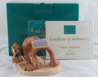 """WDCC """"Sticky Situation"""" Pluto from Disney's Beach Picnic in Box with COA"""