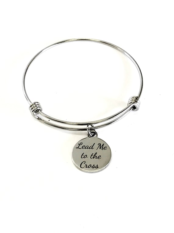 Lead Me To The Cross Stackable Expanding Bangle Charm Bracelet, Baptism Gift, Confirmation Gift For Her, Sunday School Class Gifts, Stacking