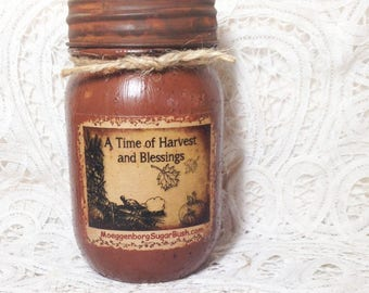 Candle Candles Grungy Jar  Primitive Harvest and blessings autumn - 1 pint Moeggenborg Sugar Bush