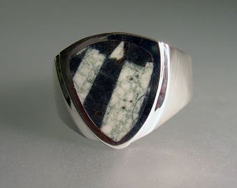Chinese Writing Stone Man's Ring Inlay Writing Stone Heavy Sterling Silver