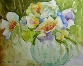 Flowers, flowers in a bowl, original watercolor