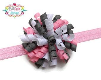Gray & Pink Korker Bow, Pink Headband, Korker Hair Bow Clip, Korker Hair Clip, Baby Headband, Baby Girls Headband, Infant Headband, Newborn