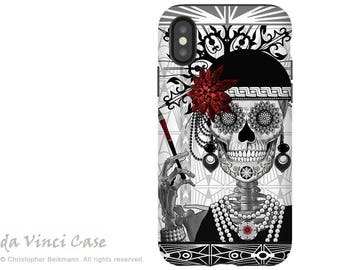 Flapper Girl Sugar Skull iPhone X Tough Case - Dual Layer Protection for iPhone 10 - Mrs Gloria Vanderbone by artist Christopher Beikmann