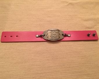Inspirational leather bracelet