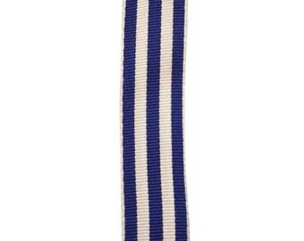 "7/8"" - Royal Blue Carnival Stripe Grosgrain Ribbon - Blue and White Stripes - Offray"