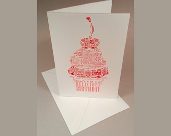 SET of 6 - Darling Patchwork Cupcake with Cherry on Top - Here's to a DELICIOUS BIRTHDAY! - Handmade Letterpress Cards