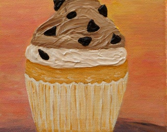 "Cupcake 8 – Chocolate Chip Cupcake, 6""x6"" Original Painting by Sarah Wynne, Cupcake Art, Bakery Decor, Kitchen"