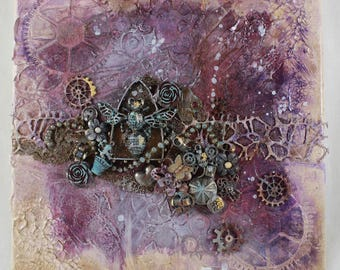 Steampunk 3D Mixed Media Assemblage Rust Gears Insect Purple Blue Beige The Conservatory