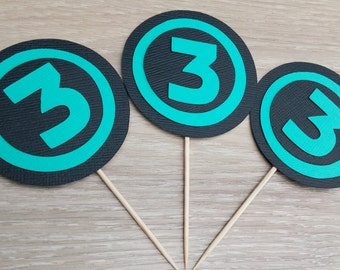 Age cupcake toppers, 12 Number Cupcake Toppers, Black and Teal, customisable,  birthday party,  cake topper birthday, customizable
