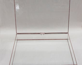 9 x 12 Clear Glass Photo Display Boxes with various depth options - Hinged Top - Jewelry - Collections
