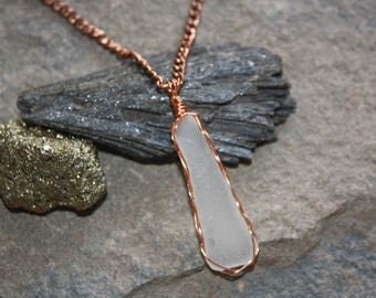 Copper Wrapped Lake Superior Beach Glass Necklace