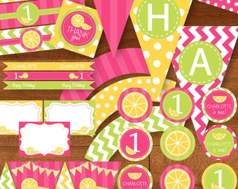 Lemonade Stand Birthday Party Printable Package with Lemons - DIY - Hot Pink, Lime Green, Yellow