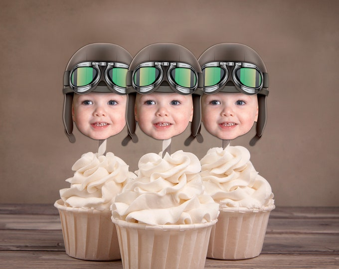 Photo Cupcake Toppers Digital File, Aviator, airplane birthday, vintage airplane,Birthday Party, first birthday , 1st, Airplane, party decor