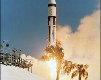 Poster, Many Sizes Available; Saturn Ib Rocket Launches Apollo 7 Into Earth Orbit, October 11, 1968