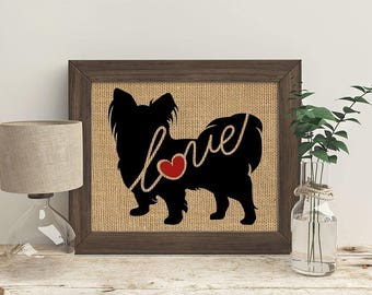 Papillon / Toy Spaniel - Burlap Print for Dog Lovers - Personalize With Name - Most Breeds Available - Rustic Farmhouse Silhouette (101s)