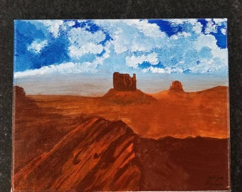 Acrylic Desert Landscape Painting - 8×10 - Canvas