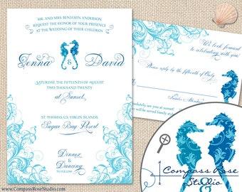 Seahorse Wedding Invitation Suites, Beach Invitations, Nautical Invites, Tropical, Destination Wedding, Elopement Announcement, Reception