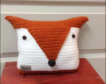 Fox, crochet pillow cushion