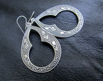 Silver bohemian earrings, Gift for Her under 30 boho jewelry