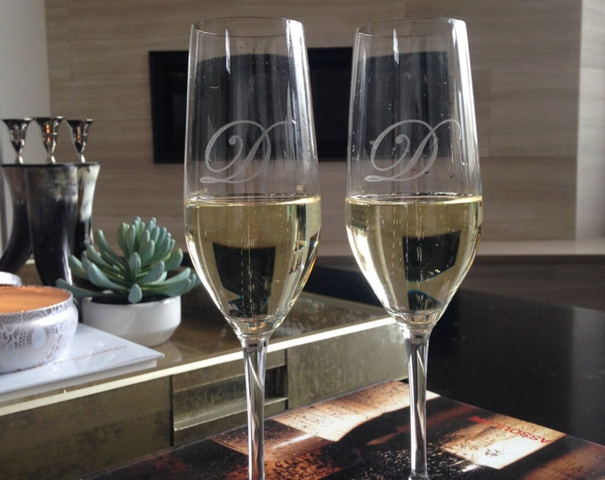 Personalized Champagne Flutes - Real Estate Closing Gift, Personalized Engagement Gift. Personalized Wedding Gift