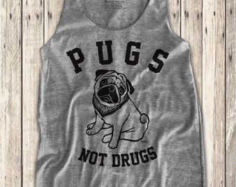 Pugs Not drugs graphic print  Women's Racerback Tank Top