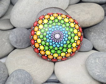 Chakra Painted Rock - Rainbow Mandala Stone - Hand-Painted Meditation Mandala Rock - Home Decor - Mandala Art - Boho - Rock Art - Paint Rock
