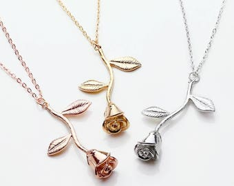 Rose Necklaces Rose Gold Silver or Gold