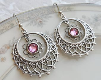 1/2 price sale - Pink Swarovski Crystal and Silver Ox Filigree Earrings