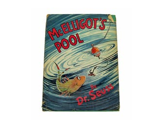 Vintage First Edition 1947 Dr Seuss McElligot's Pool Hard Cover with Dust Jacket Hardback