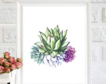 Succulent Printable, Succulent Print, Succulent Art decor, Succulent wall art, Botanical wall art, watercolor Succulent, Succulent Paintings
