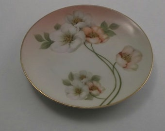 Vintage Hand Painted Plate, Small China Plate with Coral and White Garden Roses, Bavaria