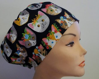 Euro Style Cat Heads on Black Medical Surgical Scrub Hat Vet Nurse Chemo CRNA Women Surgery Caps Chemo