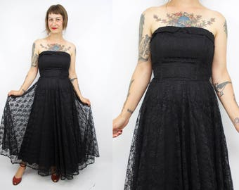 SALE - Vintage 90's Black Lace Strapless Party Dress / 1990's Lace Formal Dress / 50's Inspired / Women's Size Small