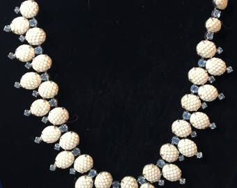 Vintage Kramer of NY Milkglass Necklace with Blue Stone Accents