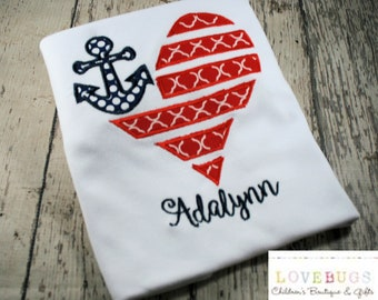 Custom Girls Anchor Heart Flag Shirt ~ July 4th Shirt ~ Embroidered, Applique, Monogram ~ Summer Vacation, Independence Day, Patriotic