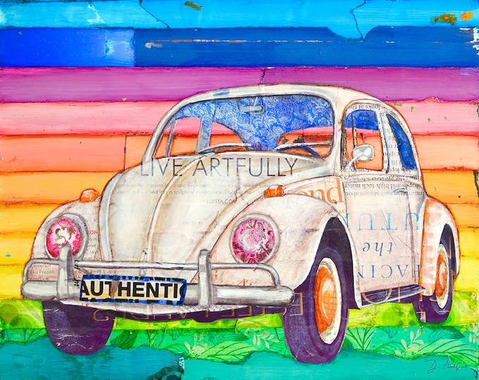 Featured listing image: Volkswagen Vw Bug Beetle ART PRINT or CANVAS classic vintage retro mixed media collage poster wall home decor,All Sizes