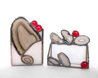 Business Card Pencil Holder Set Agate Geode Stained Glass Black White Red Handmade OOAK
